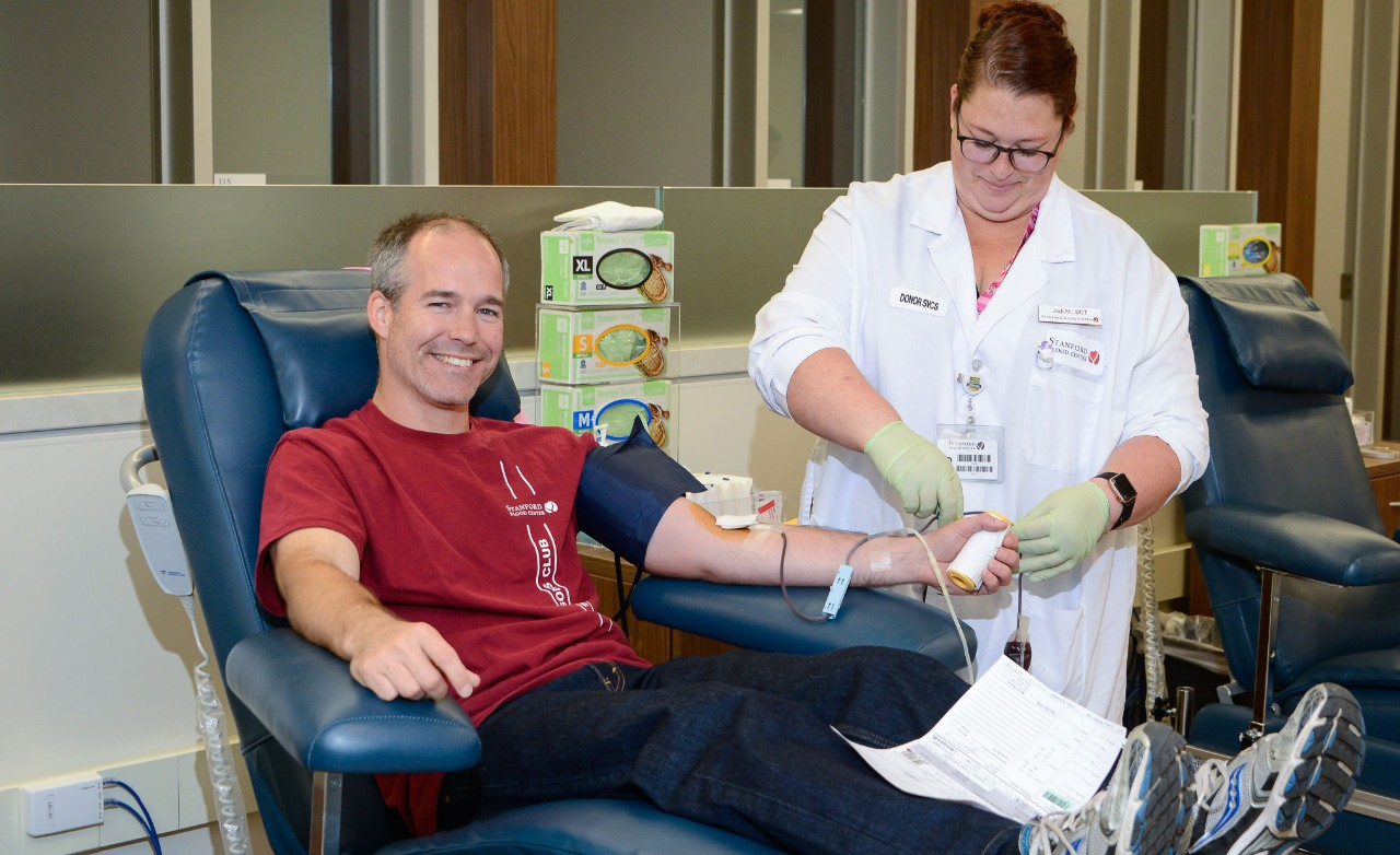 Blood donor at Stanford Blood Center