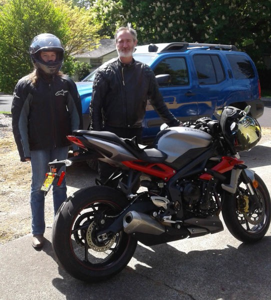Rand Bresee and his daughter Blakely ready for a motorcycle ride in 2018.